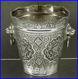 Persian Silver Wine Cooler c1925 VARTAN LION HANDLES