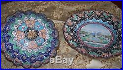 Persian rare setenamel bowl and plate Mina Isfahan Zandi absolutely beautiful