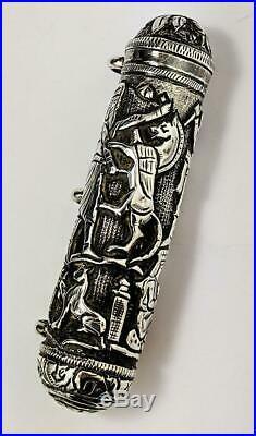 QAJAR ISLAMIC Antique SILVER AMULET SCROLL HOLDER 19TH CENTURY