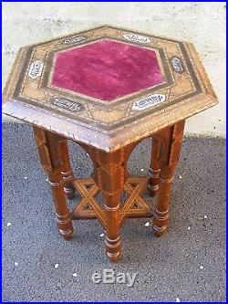 RARE 100+yrs old ALHAMBRA beautiful TABLE inlaid Andalus Inscription Islamic