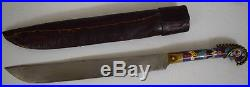 RARE ANTIQUE 19TH, C. TURKISH or SERBIAN DAGGER KNIFE with LEATHER scabbard