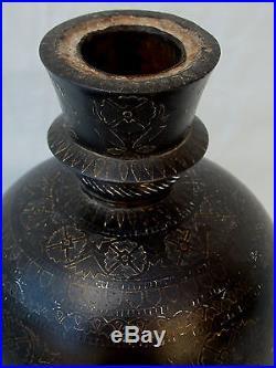 RARE ANTIQUE INDIAN MUGHAL BIDRI WARE SILVER HOOKAH HUQQA DECCAN BASE 18th CENT