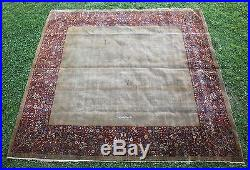 RARE! Antique Artist Signed 19thC Persian Carpet, Open Field, Finely Woven