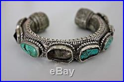 RARE Early Arab Bedouin Yemenite Middle Eastern Persian Silver Turquoise Bangle