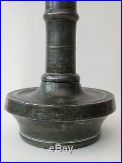 RARE ISLAMIC OTTOMAN TINNED COPPER ALLOY BRONZE MOSQUE CANDLESTICK 17th CENTURY