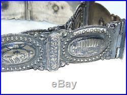 Rare Stunning Heavy Antique Turkish Ottoman Islamic Silver & Niello Belt & Coins