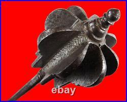 Rare 17th C. Islamic Ottoman Turkish All-Steel Flanged Battle Mace (shamshir)