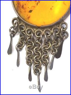 Rare Antique Amber Silver Islamic Middle Eastern Earrings Huge 4 1/4 32 Grams