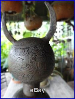 Rare Antique Indo Persian Etched Demon Head Festival Mace, Back-scratcher