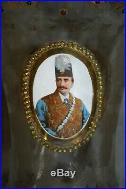 Rare Antique Matched Pair Sconce Globes Naser Al-din Shah Qajar 19th C