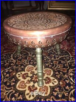 Rare Antique Middle Eastern, Arabic Copper Stool / Table Very Solid 1900c