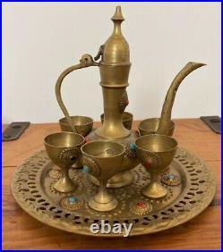 Rare Antique Middle Eastern Arabic Turkish Brass Teapot Turkish Tea Set