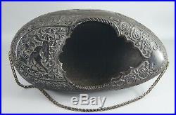 Rare Antique Persian Qajar Islamic Sufi Dervish Carved Coco De Mer Kashkul Bowl