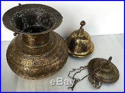 Rare Big Islamic Persian Qajar Mosque Lamp Qalamzani Figures Musicians Kings