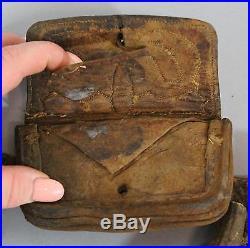 Rare Complete 19thC Arab Warrior Hunter Leather Belt, Powder Horn, Fire Striker