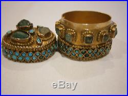 Rare Gold 16k Mounted Silver Gilt Box Emeralds & Turquoise Central Asian Museum