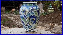 Rare Huge 13 Antique Vtg Palestine Israel Iznik Armenian Pottery Ceramic Vase