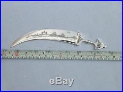 Rare Solid Silver Niello Decorated Middle Eastern Petra Jordan Letter Opener