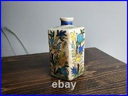 Rare antique bottle vase flask Persian Iznik pottery