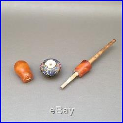 Rare butterscotch enamel Ottoman amber pipe / huqqa mouthpiece