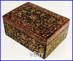 SAFAVID REVIVAL QAJAR PERSIAN Antique LACQUER WOOD BOX 19th Century