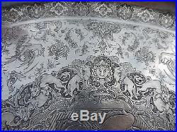 SPECTACULAR ANTIQUE PERSIAN ISFAHAN ISLAMIC SOLID SILVER TRAY 1754 gr 61.8 OZ