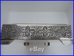 SPECTACULAR LARGE SIGNED PERSIAN ISFAHAN ISLAMIC SOLID SILVER BOX 822 gr 29 OZ