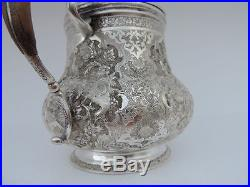 SPECTACULAR SIGNED ANTIQUE PERSIAN ISLAMIC ISFAHAN SOLID SILVER COFFEEPOT 552 gr