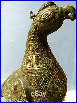 Stunning Large Islamic Persian Bird Censer Arabic Calligraphy Cairo Mughal
