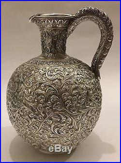 SUPERB ANTIQUE CHASED ISLAMIC PERSIAN INDIAN KUTCH SILVER JUG/EWER/PITCHER 516g