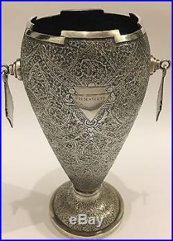 SUPERB ANTIQUE CHASED LARGE ISLAMIC PERSIAN INDIAN KASHMIR SILVER VASE/ CUP 672g