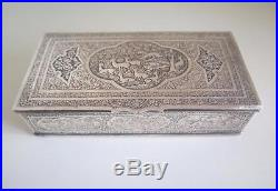 Superb Quality Antique Qajar Persian Islamic Isfahan Chased Solid Silver Box