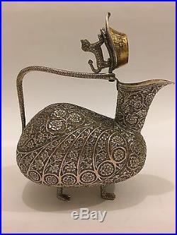 Superb Unique Antique Repousse Chased Islamic Persian Indian Kashmir Pitcher/jug