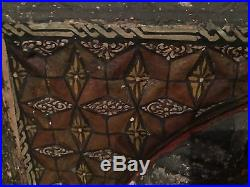 SUPERB relief carved gesso painted wooden plaque 17thC Ottoman Islamic persian