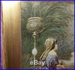 Signed Art Painting Watercolor Sultan's Favourite Middle East ARAB HAREM Women
