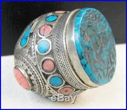 Silver Afghan wax seal signet Ring Carved turquoise rose quartz coral