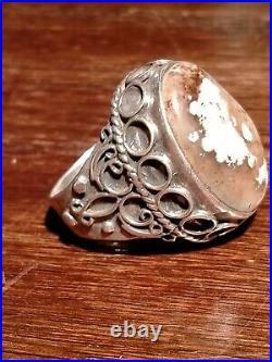 Silver Ring Agate Stone Clouds 1225 hijiri