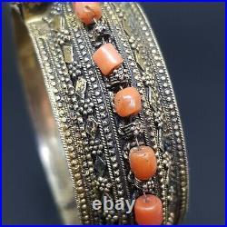 Silver bridal Yemenite Bracelet antique vintage coral hinged