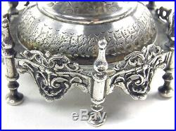 Silver spoon holder Antique 19th century Turkish Ottoman Sultan Tughra marks