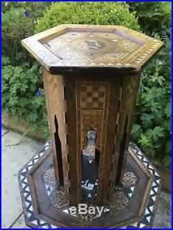 Small, Hexagonal Antique Inlaid Islamic Cafe Table