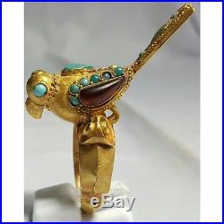 Stunning 20k Gold Old islamic Bird Ring With stones