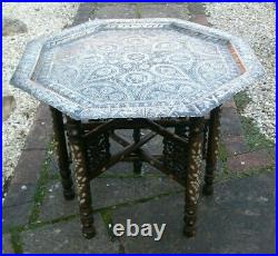 Stunning Antique Islamic Inlaid Folding Side Table With Brass Tray Top