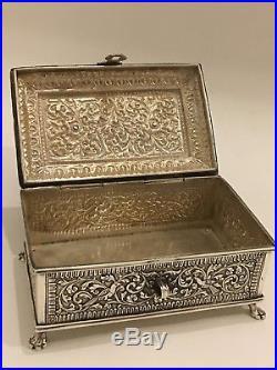 Stunning Antique Islamic Persian Indian Cutch/ Kutch Solid Silver Box /casket