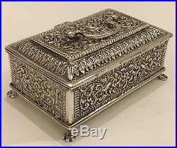 Stunning Antique Islamic Persian Indian Cutch/ Kutch Solid Silver Box /casket