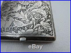 Stunning Antique Persian Qajar Islamic Solid Silver Figural Cigarette Case