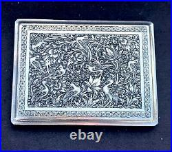 Stunning Beautifully Engraved Birds Persian Isfahan Silver Cigarette Case