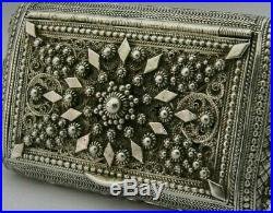 Stunning North African Middle Eastern Solid Silver Snuff Box c1890 Antique