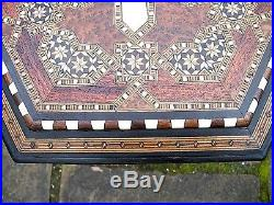 Superb Antique Hexagonal Syrian Wooden Inlaid Table With Stunning Top And Shelf