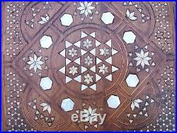 Superb Antique Syrian Wooden Inlaid Table With Stunning Top