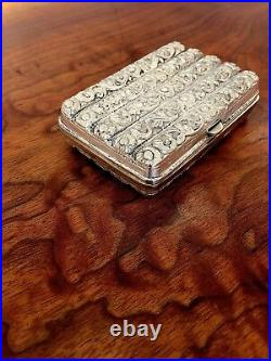 Superb Heavy Gauge Asian/Middle Eastern Silver Hinged Cheroot Case No Monogram